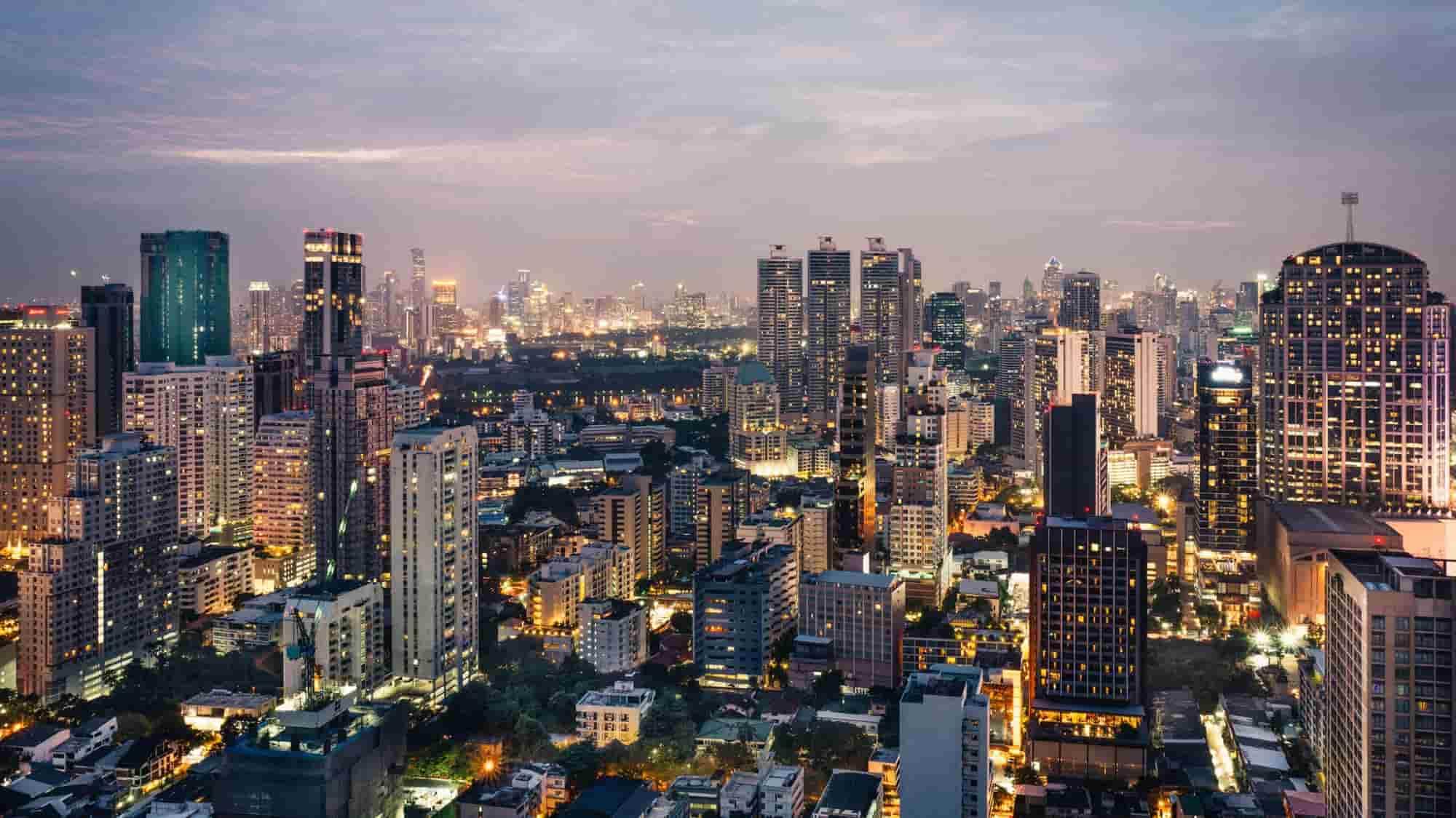 Bangkok night skyline